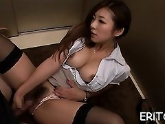 Oriental lady gets her throat filled with a huge shaft