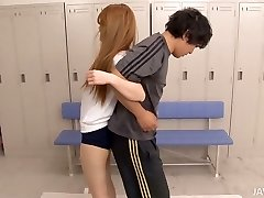 Fitness training turns into threesome for cute Asian damsel