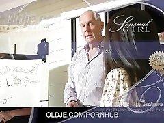 Cute Asian student gets an A for old teacher fuck and jizm gulp