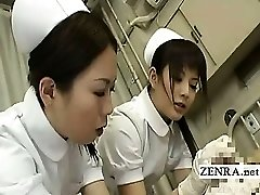Subtitled CFNM Asian nurses tender dinky inspection