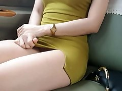 Wife with no panties on taxi