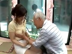 Candid young japan girl be seduced by old dude