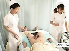 Subtitles CFNM 2 Japanese nurses hand-job with cumshot
