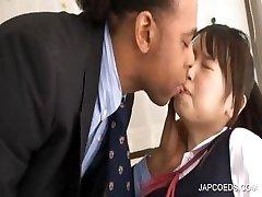 Asian schoolgirl gets puss rubbed