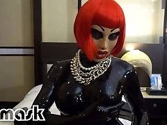 Latex orgasms RUBBER GIRL vibrator faux-cock cootchie