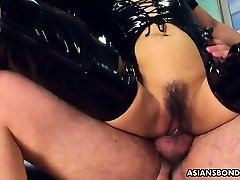 Fucking her wet cooch as she wears her PVC boots