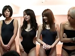 Japanese swimsuit babes in orgy