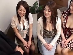 Japanese AV Models hot mature chicks in CFNM gang action