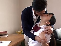 Japanese college ultra-cutie tempts her tutor and sucks his delicious cock in 69 pose