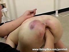 Brutally fist fucked Asian slave