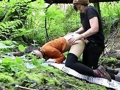 Lesbian Outdoor Rain woods Cord-On Fuck