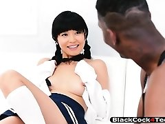Asian cutie gets her sweet coochie railed by thick black boner