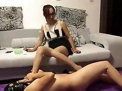 Chinese femdom ballbusting footjob cum-shot