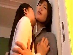 Japanese girl-on-girl schoolgirl and MILF teacher