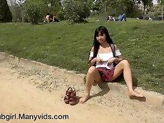 Shameless Asian Squirter in Public Park - Littlesubgirl