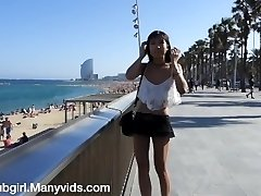 Public Flashing and Squirting at the Beach - Littlesubgirl