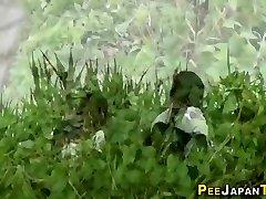 Asian teen skanks pee