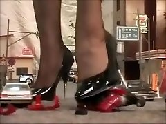 Japanese giantess mistress crushing city in heels and stockings