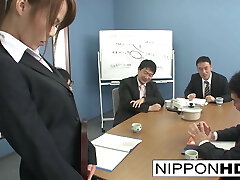 Sexy Asian office female blows her coworkers