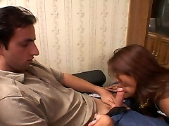 Horny Asian maid loving cock