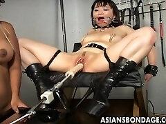 Blonde mistress fucktoys her Asian slavegirl into submission