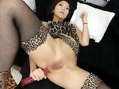 kurdish bo love it asian long faux-cock in ass