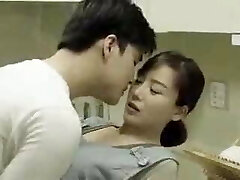 Mom & Son's Mate Fucks in the Kitchen - Korean Flick