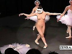 Subtitled Asian CMNF ballerina recital strips naked