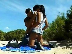 Praia de nudismo - Pouco Seios Asiático Analisada & CIM Facial