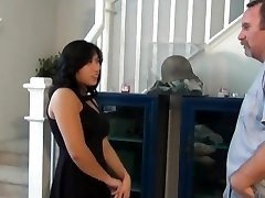 Chubby asian nephew plow and creampie on the stairs