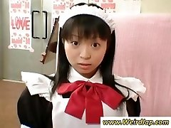Smallish Japanese maid gets punished for being bad while all watch