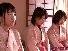 Spanked japanese teens goddess stud while wanking him off