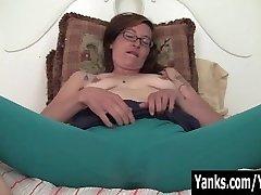 Inked Sylvie Masturbating Her Bushy Slit