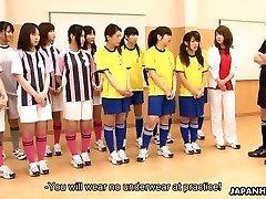 Asian schoolgirls getting toy plowed during gym