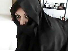 Iranian Muslim Burqa Wife gives Footjob on Yankee Mans Big American Sausage