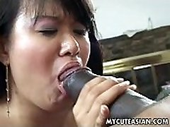 Ebony dude has a hot Asian chick to pummel