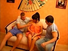 Russian Asian Milf tries out two Dudes