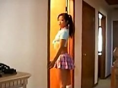 Naughty asian schoolgirl weenie sucking lessons