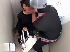 Long vagina fucked stiff by japanese dick in public toilet