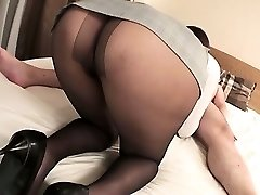 Mai Asahina takes on a huge dick in her stockings riding