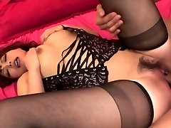 Lady in red-hot black lingerie has threesome for creampie finish