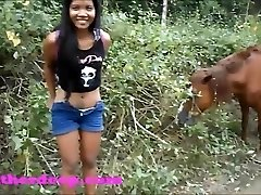 Heather Deep on ATV need to piss next to horses