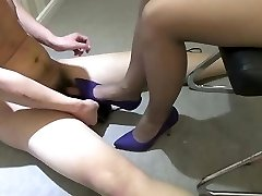 Chinese girl high heels stomping