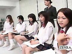 Subtitled CFNM Japanese schoolgirls bare art class