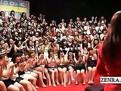 Subtitled CFNM Japanese humungous handjob blowage event