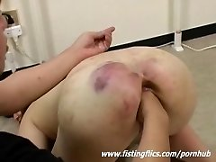 Brutally knuckle fucked Asian slave