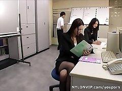 School teachers in tights footjobs threesome