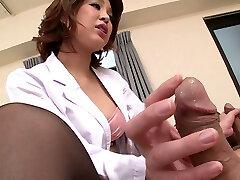 Sexy Japanese nurse Erika Nishino having fun with two patients