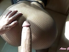 Rip my fishnets and cream pie my lil' Asian pussy