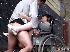 Horny Japanese nurse bj's cock in front of a voyeur